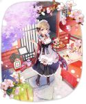 1girl :d apron azur_lane blonde_hair blurry boots breasts cherry_blossoms flower food frilled_apron frills full_body highres holding japanese_clothes kimono long_sleeves looking_at_viewer maid maid_apron maid_headdress medium_breasts official_art open_mouth oriental_umbrella pavement pink_flower pitcher sakura_koharu short_hair smile solo standing table transparent_background tray umbrella violet_eyes wa_maid wide_sleeves z23_(azur_lane)