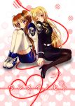 2girls blonde_hair blush brown_hair couple embarrassed fate_testarossa happy heart high_heels holding_hands legs long_hair looking_at_another lyrical_nanoha mahou_shoujo_lyrical_nanoha mahou_shoujo_lyrical_nanoha_strikers military military_uniform multiple_girls nanashiki open_mouth pantyhose red_eyes red_string side_ponytail simple_background sitting skirt smile string surprised takamachi_nanoha thigh-highs thighs translation_request uniform very_long_hair violet_eyes yuri