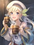 1girl :d bangs bare_shoulders belt beret blonde_hair blue_eyes bow breasts collarbone commentary_request cucouroux_(granblue_fantasy) cup detached_sleeves dress gold_trim granblue_fantasy hair_bow hair_ribbon hat holding holding_cup indoors long_hair looking_at_viewer medium_breasts open_mouth panda_inu patch red_belt ribbon skirt smile solo twintails white_dress white_headwear white_skirt wide_sleeves