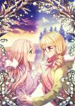 2girls abigail_(heart_of_the_woods) blonde_hair bow flower forest glasses hair_ornament hair_ribbon heart_of_the_woods highres holding_hands hood hoodie looking_at_another maddie_raines multiple_girls nature official_art pink_hair profile ribbon rosuuri scarf sky snow snowing tree yuri