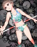 1girl aqua_footwear aqua_tank_top brown_hair collarbone commentary_request from_above full_body high_jump highres horizontal_bar looking_away midriff multicolored navel original paint_splatter parted_lips pink_tank_top shoes short_hair sneakers solo_focus tank_top track_uniform yajirushi_(chanoma)
