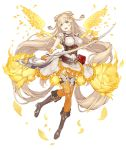 1girl :d belt belt_pouch blonde_hair blue_eyes boots bow breasts corset dress frilled_dress frills full_body hair_bow ji_no large_breasts long_hair official_art open_mouth petals pouch rapunzel_(sinoalice) sinoalice smile solo sword transparent_background upper_teeth very_long_hair weapon