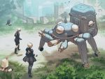 1boy 1girl backless_dress backless_outfit black_legwear black_skirt blindfold boots commentary_request dress emil_(nier) ghost_in_the_shell highres komakuchi_mame musical_note nier_(series) nier_automata ruins skirt spoken_musical_note tachikoma thigh-highs white_hair yorha_no._2_type_b yorha_no._9_type_s