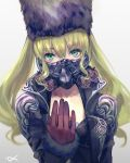 1girl bangs black-jacket black_headwear blonde_hair breasts code_vein covered_mouth csyday fur-trimmed_sleeves fur_hat fur_trim gas_mask gloves green_eyes grey_background hat long_hair long_sleeves looking_at_viewer mia_karnstein red_gloves solo twintails upper_body