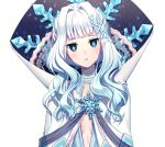 1girl aqua_lipstick bangs blue_eyes blunt_bangs cape choker diamond-shaped_pupils hair_intakes heart_of_the_woods high_collar lipstick long_hair makeup official_art pointy_ears rosuuri simple_background snowflake_pin snowflake_print solo symbol-shaped_pupils the_fairy_queen_(heart_of_the_woods) upper_body white_background