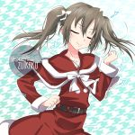 1girl artist_name belt bow character_name closed_eyes commentary_request eighth_note green_hair hair_bow inaba_shiki kantai_collection musical_note patterned_background santa_costume smile solo upper_body zui_zui_dance zuikaku_(kantai_collection)