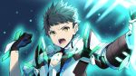 1boy blue_background brown_hair gloves glowing holding holding_sword holding_weapon open_mouth rex_(xenoblade_2) short_hair spoilers sword upper_body weapon xenoblade_(series) xenoblade_2 yappen yellow_eyes