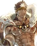 1boy abs bara beard brown_hair chest dark_skin dark_skinned_male earrings facial_hair headband highres jewelry male_focus multicolored_hair muscle necklace nipples pectorals pointy_ears sky_(sora_no_gomibako) snake solo spiky_hair tangaroa tattoo tokyo_houkago_summoners tooth_necklace upper_body white_hair yellow_eyes