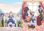 2girls 6+boys alan_stuart boots brother_and_sister brothers cape cravat geordo_stuart katarina_claes keith_claes kneeling mansion multiple_boys multiple_girls necktie nicol_ascart official_art otome_game_no_hametsu_flag_shika_nai_akuyaku_reijou_ni_tensei_shite_shimatta scar shoes siblings younger
