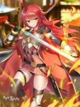 1girl antenna_hair armored_boots armpits artist_request belt black_gloves black_legwear black_panties blurry boots breastplate cape cermia_(epic7) copyright_name depth_of_field epic7 fire gloves gold_trim high-waist_skirt highres holding holding_sword holding_weapon leg_up long_hair looking_at_viewer miniskirt official_art panties parted_lips pleated_skirt red_skirt redhead sheath skirt sleeveless smile solo sword thigh-highs thigh_strap thighs underwear vambraces weapon wing_collar yellow_eyes