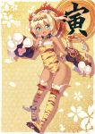1girl animal_ears animal_print ankle_cuffs black_gloves blonde_hair blue_eyes breasts chain chinese_zodiac collar dark_skin fake_horns fang full_body gloves hairband highres ichi_makoto legs long_hair no_panties open_mouth original paw_gloves paws sideboob small_breasts smile solo tabard tail thigh-highs thighs tiger_ears tiger_print tiger_tail twintails