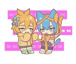 2boys :o animal_ears bangs barefoot blue_bow blue_eyes blue_hair blush bow cat_ears cat_tail chibi darwin_watterson entangled fang full_body green_eyes green_footwear gumball_watterson hair_between_eyes hair_bow long_sleeves looking_away looking_down male_focus multiple_boys nemu_maru orange_bow orange_hair orange_hoodie orange_ribbon personification ribbon shoes sleeves_past_fingers sleeves_past_wrists sweater tail the_amazing_world_of_gumball white_background