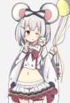 1girl animal_ears balloon bow commentary_request eyebrows_visible_through_hair granblue_fantasy grey_hair hair_ornament hairband hairclip holding_balloon index_finger_raised looking_at_viewer medium_hair midriff mouse mouse_ears navel one_eye_closed red_bow red_eyes shirt simple_background skirt thigh_strap toro_th vikala_(granblue_fantasy) white_background white_shirt white_skirt wide_sleeves