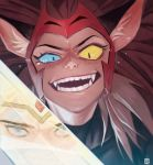 2girls ahndory animal_ears brown_hair cat_ears cat_girl catra crying freckles grin headgear heterochromia highres korean_commentary multiple_girls red_headwear reflection sharp_teeth she-ra she-ra_and_the_princesses_of_power slit_pupils smile solo_focus sword teeth uneven_eyes weapon