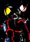 2boys 4ze_meteor antennae dark glowing glowing_eyes glowing_lines highres kamen_rider kamen_rider_555 kamen_rider_faiz kamen_rider_kaixa multiple_boys neon_trim rider_belt tokusatsu