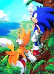 2boys :d animal_ears blue_fur fang forest fox_ears fox_tail gloves grin hedgehog_ears highres horizon leaf looking_to_the_side male_focus misuta710 multiple_boys multiple_tails nature ocean open_mouth red_footwear smile sonic sonic_the_hedgehog tail tails_(sonic) teeth tree tree_branch water white_gloves yellow_fur