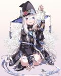 1girl absurdres arm_support bangs black_coat black_gloves black_headwear black_skirt blue_eyes blue_ribbon braid bridal_gauntlets coat copyright_name crossed_bangs dice_hair_ornament flower gem gloves hair_cubes hair_ornament hat hat_flower highres holding_lantern jewelry kneeling lantern long_hair long_sleeves looking_at_viewer magic mito_w necklace pink_flower ribbon ribbon-trimmed_headwear ribbon-trimmed_sleeves ribbon_trim shiki_no_akari skirt smile solo talisman tomoshibi_no_majo very_long_hair white_flower white_hair wide_sleeves witch_hat