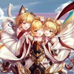 3girls ;d ;o ahoge andira_(granblue_fantasy) animal_ear_fluff animal_ears ankle_scrunchie bangs bare_shoulders barefoot beads black_legwear blonde_hair blunt_bangs blush braid brown_eyes chinese_commentary clouds collarbone commentary_request detached_sleeves dog_ears dog_girl dog_tail erune eyebrows_visible_through_hair fangs feathers girl_sandwich granblue_fantasy hagoromo hair_beads hair_feathers hair_ornament hairband harvin highres hug love_makira mahira_(granblue_fantasy) monkey_ears monkey_girl monkey_tail multiple_girls one_eye_closed open_mouth pantyhose partial_commentary rope sandwiched scrunchie shawl shimenawa short_hair smile tail two_side_up vajra_(granblue_fantasy) white_scrunchie wide_sleeves