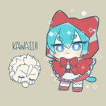1boy :3 animal_ears apron bangs blue_eyes blue_hair bow capelet cat_ears cat_tail chibi chibi_inset closed_eyes cosplay crying dress grey_background gumball_watterson hair_between_eyes hood hood_up little_red_riding_hood little_red_riding_hood_(grimm) little_red_riding_hood_(grimm)_(cosplay) looking_at_viewer nemu_maru outstretched_arms personification red_bow red_capelet red_footwear red_hood simple_background solo_focus spread_arms standing streaming_tears tail tears the_amazing_world_of_gumball waist_apron white_apron