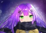 1girl blush commentary covered_mouth eyebrows_visible_through_hair green_eyes hair_ornament hairclip highres nihm purple_hair scarf scarf_over_mouth signature tokoyami_towa virtual_youtuber