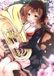 1girl absurdres bench brown_eyes brown_hair brown_serafuku brown_skirt cherry_blossoms cowboy_shot euphonium flower handkerchief hibike!_euphonium highres hiragi_ringo instrument kitauji_high_school_uniform music neckerchief oumae_kumiko park_bench playing_instrument pleated_skirt red_neckwear sailor_collar school_uniform serafuku short_hair sitting skirt solo white_sailor_collar