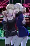 2girls absurdres ahoge artoria_pendragon_(all) black_nails blonde_hair blurry blurry_background boots breasts bubble_tea cup disposable_cup fate/grand_order fate/stay_night fate_(series) fur-trimmed_jacket fur-trimmed_sleeves fur_trim grey_hair hand_in_pocket highres jacket jeanne_d'arc_(alter)_(fate) jeanne_d'arc_(fate)_(all) jet_black_king_of_knights_ver._shinjuku_1999 jewelry knee_boots looking_at_viewer medium_breasts middle_finger multiple_girls necklace nipi27 pale_skin parted_lips ponytail saber_alter shinjuku_(tokyo) short_hair shorts small_breasts smile tank_top wicked_dragon_witch_ver._shinjuku_1999 yellow_eyes