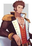 1boy abs arm_rest bara beard belt blue_eyes brown_hair chest collar epaulettes facial_hair fate/grand_order fate_(series) fringe_trim goatee highres jacket long_sleeves looking_at_viewer male_focus military military_uniform mixivsky muscle napoleon_bonaparte_(fate/grand_order) open_clothes open_jacket open_shirt pants pectorals scar sideburns simple_background smile solo tight uniform upper_body white_pants