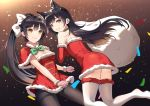 2girls akanebi animal_ears atago_(azur_lane) azur_lane bag bangs black_hair black_legwear boots brown_background capelet closed_mouth dress dress_tug eyebrows_visible_through_hair floating_hair fox_ears fur-trimmed_capelet fur-trimmed_dress fur_boots fur_trim gift_bag gradient gradient_background green_neckwear holding holding_bag leg_up long_hair looking_at_viewer mole mole_under_eye multiple_girls pantyhose plaid_neckwear red_capelet red_dress santa_costume shiny shiny_hair short_dress sleeveless sleeveless_dress smile strapless strapless_dress striped striped_dress takao_(azur_lane) thigh-highs thigh_boots thighband_pantyhose tube_dress very_long_hair white_footwear wrist_cuffs yellow_eyes zettai_ryouiki