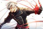 1boy croix_dia_doll earrings eyepatch gloves highres holding jewelry long_sleeves male_focus pixiv_fantasia pixiv_fantasia_age_of_starlight red_eyes red_string silver_hair simple_background standing string yorukage