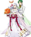1boy 1girl alternate_costume bird bouquet bow cape crossed_arms dress feathered_wings feathers fire_emblem fire_emblem:_radiant_dawn fire_emblem_heroes flower full_body gloves green_hair grey_hair highres leaf long_hair micaiah_(fire_emblem) official_art open_mouth sothe_(fire_emblem) teffish transparent_background veil wings yellow_eyes yune_(fire_emblem)