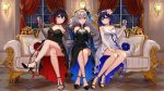 ;) aircell barefoot black_dress blue_eyes blue_hair bronya_zaychik collarbone couch dress eyebrows_visible_through_hair grey_eyes grey_hair highres honkai_(series) honkai_impact_3rd indoors looking_at_viewer multicolored_hair one_eye_closed red_eyes redhead seele_vollerei smile tagme two-tone_hair white_dress