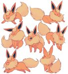 ^_^ charamells closed_eyes commentary creature english_commentary flareon full_body gen_1_pokemon jumping lying no_humans on_stomach pokemon pokemon_(creature) sitting standing standing_on_three_legs