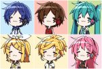 2boys 4girls :3 aosaki_yato aqua_hair aqua_neckwear arm_warmers armband bangs bare_shoulders black_collar black_shirt black_sleeves blonde_hair blue_hair blue_scarf blush_stickers bow brown_hair chibi closed_eyes coat collar commentary detached_sleeves gold_trim grey_shirt hair_bow hair_ornament hairclip hatsune_miku headphones highres kagamine_len kagamine_rin kaito long_hair megurine_luka meiko multiple_boys multiple_girls neckerchief necktie pink_hair red_shirt sailor_collar scarf school_uniform shirt short_hair short_ponytail short_sleeves sleeveless sleeveless_shirt smile spiky_hair swept_bangs twintails upper_body very_long_hair vocaloid white_bow white_coat white_shirt yellow_neckwear
