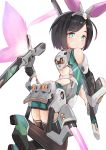 1girl absurdres ass backless_outfit bangs bare_shoulders black_hair black_legwear blush closed_mouth eyebrows_visible_through_hair gloves green_eyes green_footwear green_shirt green_shorts grey_gloves headgear highres holding holding_sword holding_weapon katana light_frown looking_at_viewer looking_back mecha_musume original piliheros2000 shirt shoe_soles shoes short_hair short_shorts shorts single_glove sleeveless sleeveless_shirt solo swept_bangs sword thigh-highs two-handed weapon