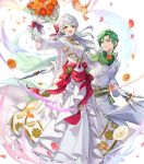 1boy 1girl alternate_costume bird blush bouquet bow cape crossed_arms dress feathered_wings feathers fire_emblem fire_emblem:_radiant_dawn fire_emblem_heroes flower full_body gloves green_hair grey_hair highres leaf long_hair micaiah_(fire_emblem) official_art open_mouth petals sothe_(fire_emblem) sparkle teffish transparent_background veil wings yellow_eyes yune_(fire_emblem)