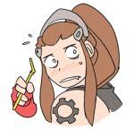 1girl animated blush brigitte_(overwatch) brown_hair chibi drinking_straw drooling lowres mike_nesbitt overwatch ponytail shoulder_tattoo solo tattoo