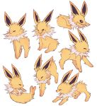 ^_^ charamells closed_eyes commentary creature english_commentary full_body gen_1_pokemon jolteon lying no_humans on_stomach pokemon pokemon_(creature) sitting standing