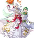 1boy 1girl alternate_costume bird blush bouquet bow cape crossed_arms dagger dress feathered_wings feathers fire_emblem fire_emblem:_radiant_dawn fire_emblem_heroes flower full_body gloves green_hair grey_hair highres leaf long_hair micaiah_(fire_emblem) official_art open_mouth sothe_(fire_emblem) teffish transparent_background veil weapon wings yellow_eyes yune_(fire_emblem)