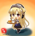 1girl :d artist_name black_legwear black_skirt blonde_hair blush coffee cup eyebrows_visible_through_hair fletcher_(kantai_collection) food full_body gloves headphones holding holding_tray kantai_collection long_hair minigirl neckerchief off_shoulder open_mouth pancake pleated_skirt remodel_(kantai_collection) sailor_collar school_uniform serafuku side_bun skirt smile solo taisa_(kari) thigh-highs tray twitter_username violet_eyes white_gloves white_sailor_collar yellow_neckwear