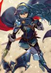 1girl armor blue_eyes blue_gloves blue_hair bodysuit breastplate cape closed_mouth falchion_(fire_emblem) fingerless_gloves fire_emblem fire_emblem:_kakusei fire_emblem_13 fire_emblem_awakening floating_hair gloves hair_between_eyes hair_ornament hand_on_own_chest hankuri holding holding_sword holding_weapon intelligent_systems lips long_hair lucina lucina_(fire_emblem) mask mask_removed multicolored multicolored_cape multicolored_clothes nintendo red_cape ribbed_sweater sheath shoulder_armor solo sweater sword tiara weapon