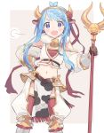 1girl animal_ears animal_print armor bangs bell bell_collar belt blue_eyes blue_hair blush braid braided_bangs chaps collar cow_ears cow_print detached_sleeves hairband hand_on_hip highres holding holding_staff long_hair navel open_mouth original pelvic_curtain puffy_sleeves red_ribbon ribbon sidelocks simple_background solo staff swept_bangs tagme tareme two-tone_background zuho_(vega)
