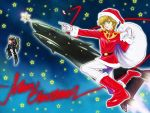 1girl blonde_hair breasts christmas closed_mouth ebba fur_trim gloves green_eyes gundam gundam_unicorn hat looking_at_viewer mecha military military_uniform mineva_lao_zabi pantyhose santa_hat short_hair smile space space_craft unicorn_gundam_banshee uniform