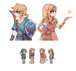 2boys 2girls back-to-back blue_eyes charamells closed_mouth commentary dress dual_persona english_commentary link multiple_boys multiple_girls pixel_art princess_zelda shield simple_background smile standing super_smash_bros. tagme the_legend_of_zelda the_legend_of_zelda:_breath_of_the_wild the_legend_of_zelda:_twilight_princess triforce white_background