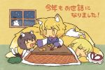3girls animal_ears black_headwear blonde_hair blush_stickers brown_hair cat_ears cat_tail chen chibi closed_eyes commentary_request dress feeding food fox_ears fox_tail fruit gap green_headwear hat hat_removed headwear_removed highres holding holding_food indoors jewelry kotatsu long_hair long_sleeves lying mandarin_orange mob_cap multiple_girls multiple_tails on_side open_mouth pillow pmx red_dress shirt short_hair single_earring sitting smile snowman table tail touhou translation_request two_tails under_kotatsu under_table white_headwear white_shirt winter_clothes witch_hat yakumo_ran yakumo_yukari yellow_eyes