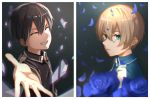 2boys aqua_eyes bangs black_hair black_shirt blonde_hair blue_shirt closed_eyes collared_shirt crying eugeo facing_viewer grin hair_between_eyes highres huge_filesize kirito male_focus multiple_boys oekaki_taro outstretched_arm outstretched_hand parted_lips reaching_out shiny shiny_hair shirt smile sword_art_online tears upper_body wing_collar