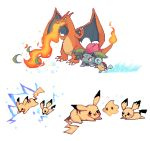 :d black_eyes breathing_fire charamells charizard chiko_(mario) claws commentary dragon electricity english_commentary eye_contact fangs fiery_tail fire flame gen_1_pokemon gen_2_pokemon happy horns ivysaur jumping leaf looking_at_another lying mario_(series) on_stomach open_mouth pichu pikachu pixel_art simple_background smile squirtle standing super_mario_galaxy super_smash_bros. tail water white_background