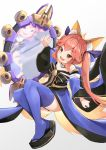 1girl :d absurdres animal_ear_fluff animal_ears bangs black_bow black_footwear blue_kimono blue_legwear blue_sleeves blush bow brown_eyes commentary_request detached_sleeves eyebrows_visible_through_hair fang fate/extra fate_(series) fox_ears fox_girl fox_tail full_body gradient gradient_background grey_background highres japanese_clothes kimono long_hair long_sleeves mirror obi open_mouth piliheros2000 pink_hair reflection sash smile solo strapless striped striped_bow tail tamamo_(fate)_(all) tamamo_no_mae_(fate) thigh-highs twintails very_long_hair white_background wide_sleeves zouri