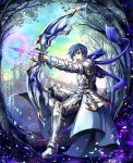 1boy absurdres armor arrow_(projectile) blue_eyes blue_hair blue_scarf bow_(weapon) commentary drawing_bow fantasy from_side highres holding holding_bow_(weapon) holding_weapon huge_filesize kaito knight magic magic_circle male_focus open_mouth petals scarf solo takaha_a_z tree vocaloid weapon