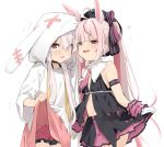 2girls :p ahoge animal_ears black_legwear black_shirt choker collar dress dress_lift dual_persona face-to-face fake_animal_ears hat hood lifted_by_self long_hair low_twintails multiple_girls necktie open_mouth pink_eyes pink_hair rabbit_ears red_neckwear red_shorts red_skirt ribbon shirt short_shorts shorts shorts_under_dress skirt skirt_lift sleeveless sleeveless_shirt smile tomari_mari tomari_mari_channel tongue tongue_out twintails uno_ryoku virtual_youtuber white_collar white_dress