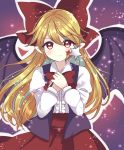 bat_wings black_vest blonde_hair blush bow closed_mouth elis_(touhou) facial_mark hair_bow highres holding holding_wand long_hair long_skirt long_sleeves looking_at_viewer ougi_hina pointy_ears red_bow red_eyes red_neckwear red_skirt shirt skirt star star_wand touhou touhou_(pc-98) upper_body vest wand white_shirt wings